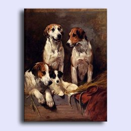 Wholesale Hand painted Hi Q modern wall art home decorative abstract oil painting on canvas lovely dogs Three Hounds With A Terrier x36inch Unframed