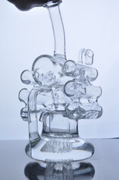 Wholesale Cyclone Helix Glass Bong Cream Six Ball Jet Recycle Birdcage Tire Perc Bubber Water Pipe Hookah Oil Rigs In Heavy Base
