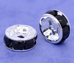 Wholesale-Copper + Rhinestone Spacer Beads Round Black Silver Plated Black Rhinestone About 8mm Dia,Hole:Approx 1.3mm,10 PCs 2016 new