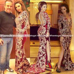 Wholesale Arabic Myriam Fares Burgundy V Neck Mermaid Evening Dresses Embroidery vestido de festa Fashion African Formal Prom Gowns