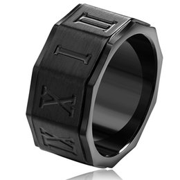 Wholesale Fashion Roman Numerals Gent Men Titanium Stainless Steel Adaptation Ring Black Gold Silver Wedding Engagement Rings Jewelry Gifts