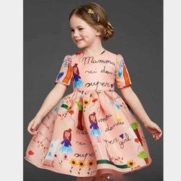 2016 European Style Children Clothing Girls Summer and Autumn Cartoon Girls Letters Printing Round NecK Short-sleeved Dress Waist Pleats
