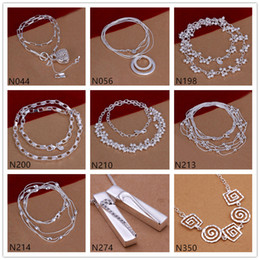 Grid spiral shape 925 silver Necklace 6 pieces a lot mixed style,brand new women's gemstone sterling silver Necklace EMP52
