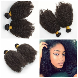 Mongolian afro Kinky Curly Hair Weave Bundles 35g pcs Human Hair Extensions natural black G-EASY free ship