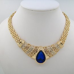 Wholesale 2016 Fashion Newest Product Imitation Blue Zircon Pendant Necklace Earring Jewelry Sets Dubai Wedding Jewelry Sets For Women