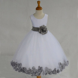 Classic Popular Flower Girls Dresses for Weddings Little Girl Lovely White Ivory Tulle Dress with Grey Blue Red Fuchsia Purple Appliques