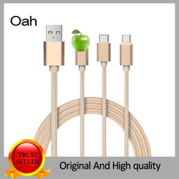 Wholesale 3 in Type C Nylon Braided Aluminum USB Cable Fast Charger Cable Data Sync for Xiaomi Meizu pro Letv S