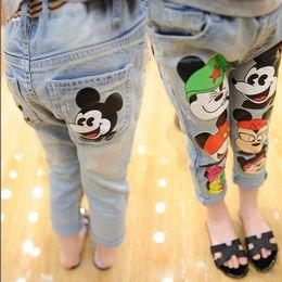 Wholesale 2016 Girls Korean Style Fashion Cartoon Pencil Denim Pants Best Sale Childrens Autumn Casual Pants Kids High Fashion Pretty Long Jeans Pants