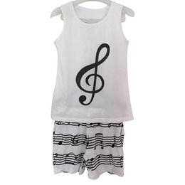 Wholesale cotton fashion women pajamas women suit Casual vest shorts White printing music notes women s sports suits sleeveless