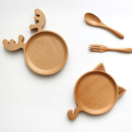 Wholesale Cartoon Deer Or Cat Shape Dishes Plates Children s tableware Beech Wood Christmas Plates MOQ Piece