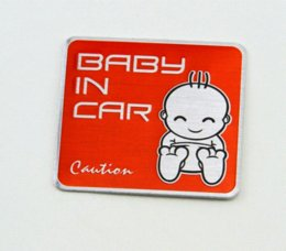 Acheter en ligne Autocollant décoration de voiture en métal-New Metal Car Warning Autocollant Bébé à bord autocollant enfants sur la route Baby In Truck Car Sticker Moto Car Décoration Body