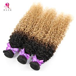 Promotion 27 bouclés ombre Cheveux Wholeasale Paquets Indiens Ombre Kinky Curly Weave Indienne Virgin Remy Produits Cheveux Humains Cheveux Dyeable 3pcs / lot 1B / 27