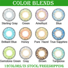 Wholesale 3 tone colored contacts fresh color blends lenses with packing boxes colors free DHL shipping ready stock