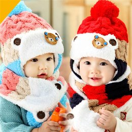 Wholesale Scarfs Bear For Kids - Winter Baby Hat and Scarf Cute Bear Crochet Knitted Caps for Infant Boys Girls Children Kids Neck Warmer