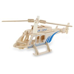 Wholesale New SEALAND WP Piece Compact Design Wooden D Aircraft Helicopter Model Simulation Construction Kit Educational Toy