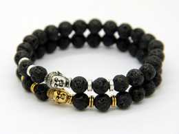 Wholesale 2015 Hot Sale Jewelry Black Lava Energy Stone Beads Gold And Silver Buddha Bracelets New Products for Men s and Women s GIft
