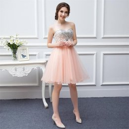 Wholesale Best Selling Prom Gown Fast Shipping High Quality Tulle Beaded Knee Length Short Peach Coral Prom Dresses On Sale