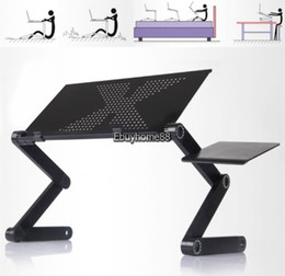 Wholesale Standing Laptop Tray - Adjustable foldable laptop Notebook desk Table Fans Stand Portable Bed Tray