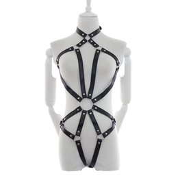 Wholesale Porn Adult Sex Toys Black Pole Dance Bondage Harness Bodysuit Restraint Sex Clothes Women Catsuit Sexy Costumes With Hand Cuffs