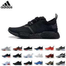 Wholesale 2016 Adidas NMD R1 Monochrome Mesh Triple White Black Men Women Running Shoes Sneakers Originals Fashion NMD Runner Primeknit Casual Shoes