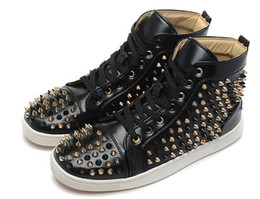 Hot sale genuine leather black suede with rivets spikes studded high top sneakers 2016 new fashion casual brands men women shoes