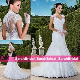 Wholesale Vintage Wedding Dresses Full Lace Mermaid Queen Anne Neckline Sheer Covered Button Sequin Plus Size Spring Fall Elegant Bridal Gowns