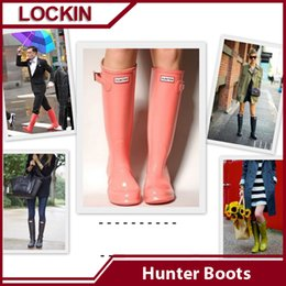 Wholesale Ms glossy rain boots hunter rubber overknee rainboots black waterproof rain boots hunter Muti color rain boots women Hot Sale