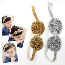 Wholesale New Korea Sweet Baby Girls Headbands Bowknot Hairbands Crochet Shine Headbands Elegant Girl Hair Bands