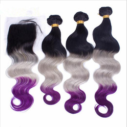 9A Virgin Peruvian #1B Grey Purple Three Tone Colored Hair Weaves With Closure Body Wave Wavy Ombre Hair 3Bundles With 4x4 Lace Closure