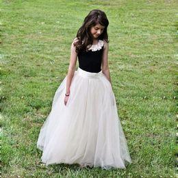 2016 Popular Cheap But Elegant Flower Girl Dresses Children Long Tulle Tutu Skirt Crew Sleeveless Floor Length Flower Girl Dress