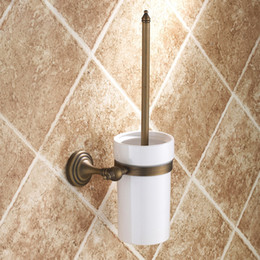 Wholesale European Style Bathroom Toilet Brush Holder With Ceramic Cup Antique Brass WC Brush Holder Bathroom Accessories