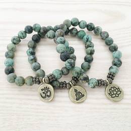 SN1109 Natural African Turquoise Men`s Bracelet Ohm Lotus Buddha Charm Bracelet High Quality Jewelry Wholesale Free Shipping