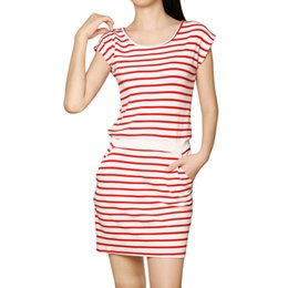 Wholesale Women s Casual Dresse Chuvivi Apparel Summer Scoop Neck Sleeveless Stripes Unlined Above Knee A Kine Dress Red