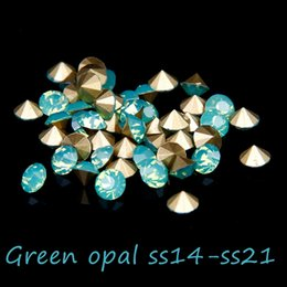 720 1440pcs Glass Rhinestones ss14-ss21 Green Opal Color Non Hotfix Pointback Crystal Stones Beads DIY Jewelry Decoration