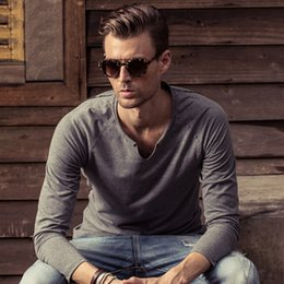 Wholesale Famous Brand Clothing Special Store V Neck T Shirts For Men Street Style Long Sleeve T Shirt Men Fashion New Summer Style