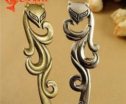 Wholesale A3196 MM Antique Bronze Fox charm retro hair accessories vintage hairpin fitting tibetan silver women hair stick pin jewelry