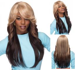 Wholesale Pelucas largas del pelo de Ombre del cuerpo largo para las pelucas sintéticas de las mujeres negras Peluca africana de la peluca de las pelucas de la manera de América