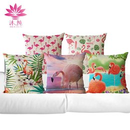 muchun Brand New Flamingo Style Christmas Linen Sofa Throw Pillow Cover 45*45 cm Square Halloween Party Home Textiles Decorative Pillow Case