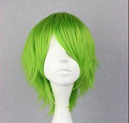 2017 pleine perruque de dentelle hommes Livraison gratuite Mode qualité de la photo pleine dentelle haute wigsFashion Cosplay 32cm court vert Lolita partie synthétique Vogue Anime Men perruque pleine perruque de dentelle hommes sortie