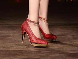 High-heeled Woman wedding shoes red shoes with thick soles thick sexy golden bride shoes size 35~40