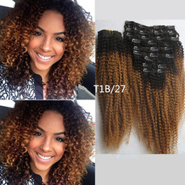 2017 27 ombre bouclé Gros-Hot !! T1B / 27 Honey Blonde clip En Ombre Human Hai Extensions africaine clip American In Human Hair Extensions réel Curly Clip in budget 27 ombre bouclé