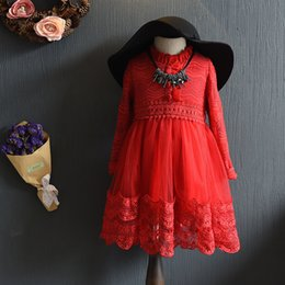 Wholesale Collared Girls Party Dress - Christmas party dress Spring Autumn Girls crochet lace Long Sleeve dress kids princess dress children lace tulle tutu dres girl clothesA9912