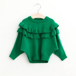 Wholesale 2016 Baby Girls Batwing Sleeve Sweaters Kids Girls Knit Ruffles Pullover Girls Autumn Fashion Jumper tops Children s clothing