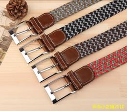 Femmes boucles de ceinture gros à vendre-Vente en gros-2016 hommes nouveaux épingle boucle élastique tissé ceinture femmes sauvages occasionnels stretch tissé ceinture élastique ceinture jeans ceintures de toile pour les hommes