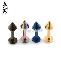 14 Gauge 16 Gauge Titanium Anodized Spike Labret Lip Ring Mixed Colors Body Jewelry Free Shipping Lot of 30 pcs