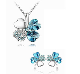Wholesale Hot sale luxury lucky shine crystal clovers choker necklace AAA crystal necklace earring jewelry set wedding jewelry DHC741