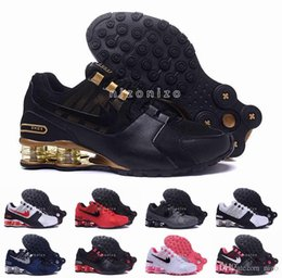Wholesale 2016 Shox Current Air Cushion Running Shoes Mens Original White Gold Black Shox NZ Trainers Sneakers Shoes Sport Shox Shoes Size
