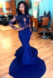 Royal Blue Lace Prom Dresses 2017 New Sheer Jewel Neck Illusion Appliques Long Sleeves Floor Length Satin Mermaid Party Evening Gowns Arabic