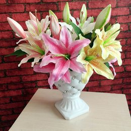 Wholesale Amazing Value Single Lily Artificial Flower Silk Cloth Fake Flower Colourful for Christmas Wedding Party Home Decoration