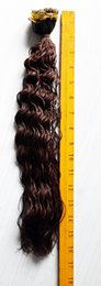 Wholesale Color Tipped Hair Styles - 16inches 0.6g 4# 100pcs bag deep style human hair pre-bonded hair extension i tip factory cheaper price free shipping usa 1bag lot